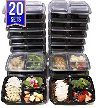 Test [Lot de 20] Boîtes alimentaires à 3 compartiments de 1.15L