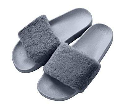 Test COFACE Femme Chaussons Sandales Plates Douces Fluffy avec